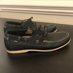 Men's Polo Ralph Lauren black lace up boat shoes